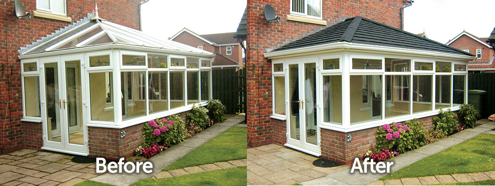 Edwardian Conservatory Solid Tiled Roof Replacement Before and After Transformation