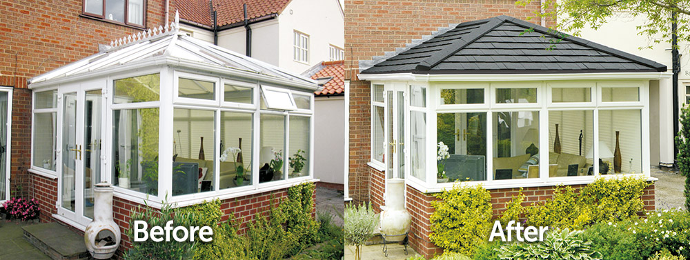 Conservatory Solid Tiled Roof Replacement Before and After Transformation