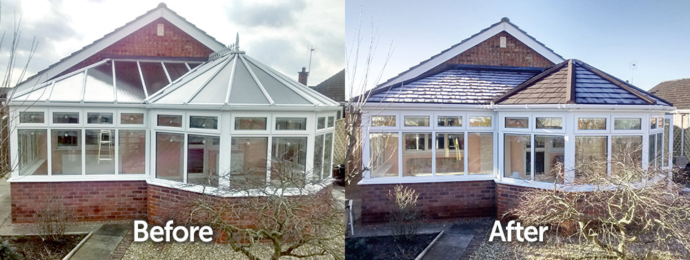 P Shaped Conservatory Solid Tiled Roof Replacement Before and After Transformation