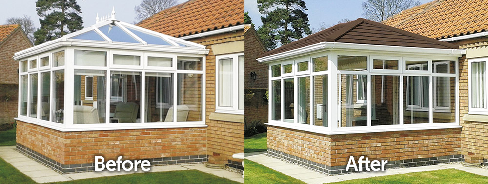 Conservatory Tiled Roof Replacement Before and After Transformation