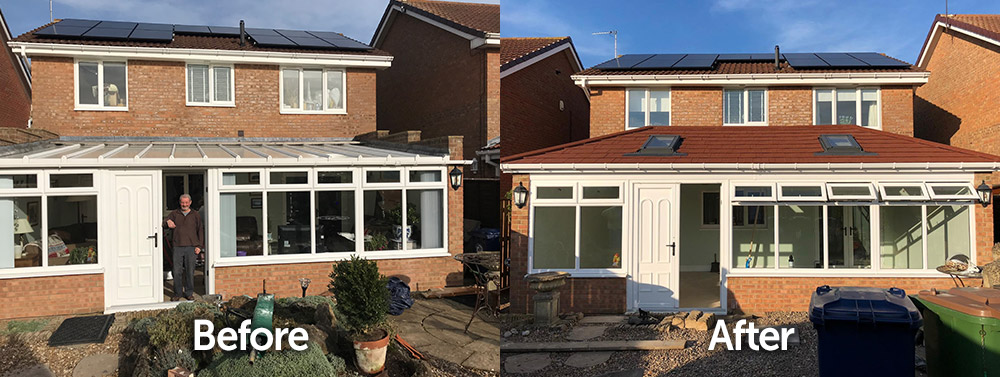 Large T Shape Conservatory Solid Tiled Roof Replacement Before and After Transformation