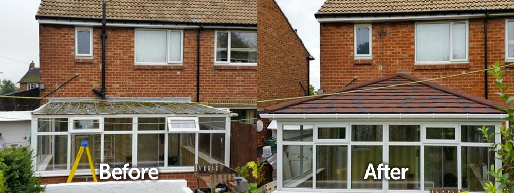 Bungalow Conservatory Solid Tiled Roof Replacement Before and After Transformation