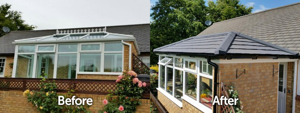 Gable Conservatory Solid Tiled Roof Replacement Before and After Transformation