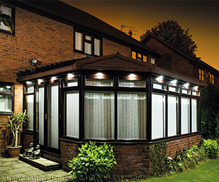 Solid Tiled Conservatory Roof with Exterior Lighting